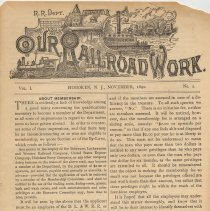 Image of Our Rail Road Work. Vol. I, No. 2, Nov. 1890. Published by the Rail Road Dept., Y.M.C.A., Hoboken, N.J. - Periodical