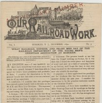 Image of Our Rail Road Work. Vol. I, No. 3, Dec. 1890. Published by the Rail Road Dept., Y.M.C.A., Hoboken, N.J. - Periodical