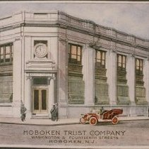 "Image of Color copy photo of a ca.1907-1914 postcard ""Hoboken Trust Company, Washington & Fourteenth Streets, Hoboken, N.J."" - Print, Photographic"