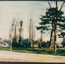 "Image of Color copy photo of a ca. 1900 postcard ""Hudson Square Park, Hoboken, N.J.,"" no date, ca. 1990. - Print, Photographic"