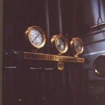 Image of Color slide of the interior of the Steamship Ticonderoga at the Shelburne Museum showing the engine room plate sign, Shelburne, VT, 1998. - Transparency, Slide