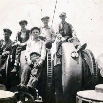Image of B+W photo of 5 workers at Tietjen & Lang Dry Dock Co., Hoboken, ca. 1916-1918. - Print, photographic