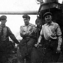 Image of B+W photo of 3 workers at Tietjen & Lang Dry Dock Co., Hoboken, ca. 1916-1918. - Print, photographic