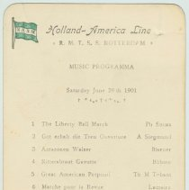 Image of Program from the S.S. Rotterdam, Holland-America Line, Music Programma, Sat., June 29th, 1901. - Program