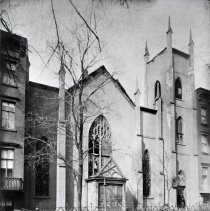 Image of B+W photo of Dutch Reform Church exterior, Hudson St. between 5th & 6th Sts., after a fire, February 22, 1891 - Negative, Film