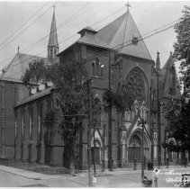 Image of B+W photo of Our Lady of Grace Church, northwest corner of Willow Ave. at 4th St., before steeple was added. ca. early 1930's. - Negative, Film
