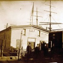 Image of B+W photo of the first Atlantic Boat Club house at the foot of 4th St. and the Hudson River, 1887. - Negative, Film