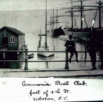 Image of B+W photo of the Germania Boat Club at the foot of 4th St. & the Hudson River, ca. 1880-1890. - Negative, Film