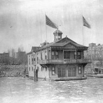 Image of B+W photo of the Valencia Boat Club at the foot of 5th St. & the Hudson River, ca. 1880-1890. - Negative, Film