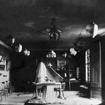 Image of B+W photo of the interior of the New York Yacht Club, Hoboken, ca. 1880's. - Negative, Film