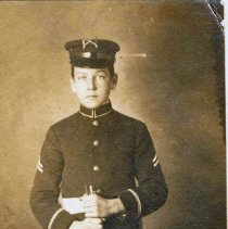 Image of Sepia-tone photo of Thomas J. Godson in the uniform of the United Cadets of America, Hoboken, no date, ca. 1911. - Print, Photographic