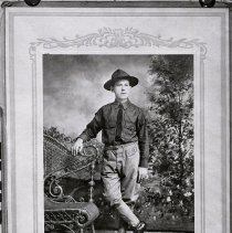 Image of Young man (Samperi family member?) wearing military uniform posed in studio, no place, August 17, 1918. - Negative, Sheet Film