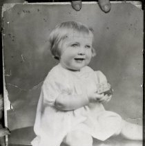 Image of Young girl (Samperi family member?) circa 2-3 years old, no place, no date, circa 1920's. - Negative, Sheet Film
