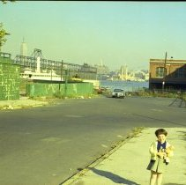 Image of Color photo negative of Patricia Samperi on Fourth St. near River St., Hoboken, no date, circa late 1971. - Negative, Roll Film