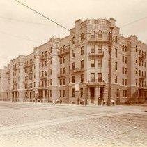 Image of Sepia-tone photo of the Elysian (Yellow) Flats apartment building, 1200 block Washington St., Hoboken , ca. 1900. - Print, Photographic