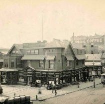 Image of Sepia-tone photo of Duke's House; Hudson Place & Ferry St. area, Hoboken , ca. 1903-04. - Print, Photographic