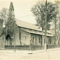 Image of Sepia-tone photo of Trinity Episcopal Church on Washington Street at the northeast corner of Seventh St., Hoboken, no date, ca. 1890-1900. - Print, Photographic