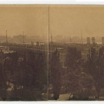 Image of Sepia-toned panoramic composite photo of Hoboken waterfront from 5th St. to 3rd & Hudson Sts., n.d., ca. 1901-1905. - Print, Photographic