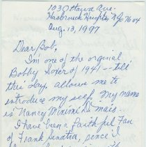 "Image of Holographic letter from Nancy DiMaio to Bob Foster of the Museum, Aug., 1997, with recollections of her day as an ""original Bobby Soxer"" - Letter"