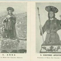 Image of Postcard with images of S[aint] Anna venerata in Monte San Giacomo, [Italy] and  S[aint] Giacomo; related to feasts celebrating St. Ann & St. James the apostle, ca. 1960. - Postcard
