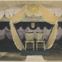 Image of B+W photo, hand-colored, of United Decorating Co. decor for reception, n.p. (Hoboken), n.d., ca. 1940s. - Print, Photographic