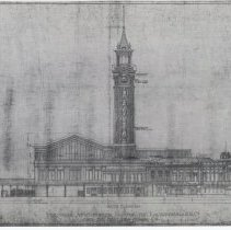 Image of South Elevation. Lackawanna R.R.Terminal & Hoboken Ferry Co. Sheet No. 110. Dec. 17, 1904. Kodalith photostatic copy. - Drawing, Architectural