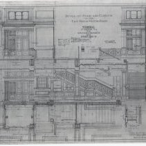 Image of Detail of Stair & Elevator in East-Bound Waiting Room. Lackawanna R.R.Terminal & Hoboken Ferry Co. Sheet No. 311. March 1, 1905. Kodalith photostatic copy. - Drawing, Architectural