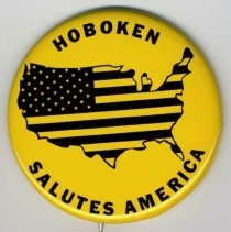 Image of Pin button: Hoboken Salutes America. [Hoboken], no date, (1976). - Button