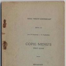 "Image of Copie Menus, First Class, R.M.S. ""Nieuw Amsterdam"", August 25 to September 11, 1948. - Book"