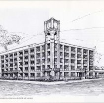 Image of Digital image of architect's rendering of the Keuffel & Esser building, Hoboken, from pg [22] of archiives catalog 2002.026.0002, 1975. - Drawing