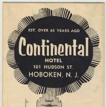 Image of Brochure for the Continental Hotel, 101 Hudson St., Hoboken, ca. 1953-58. - Brochure