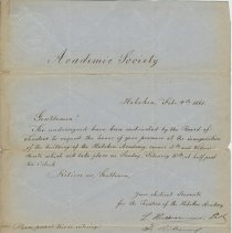 Image of Invitation letter to Common Council of Hoboken for the Inauguration of the new Hoboken Academy building, Feb. 4, 1861. - Documents