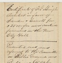 Image of detail back: city clerk's file notes
