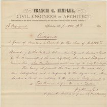 Image of Holographic certificate letter by Francis G. Himpler, Civil Engineer & Architect, Hoboken, Oct. 19, 1880. - Documents