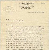 Image of Typed letter from W.F. Whittemore to City of Hoboken, March 14, 1906 re NGL signage. - Letter