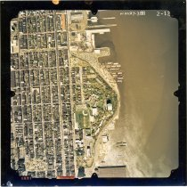 Image of Color aerial photo of Hoboken from Clinton Street to the waterfront; 4th to 13th Streets, April 27,1987. - Print, Photographic