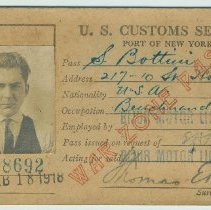 Image of War Zone Pass issued by the U.S. Customs Service for the Port of New York to S. Bottini, 217 Tenth St., Hoboken, N.J. - Card, Identification