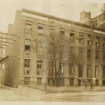 Image of Sepia-tone photo of the German Seamen's Institute (Home) at 60-64 Hudson St., Hoboken, no date, ca. 1912. - Print, photographic