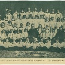Image of Album clipping of a photo of the Junior Choir of The First Methodist Episcopal Church of Hoboken from a church program, no date, ca. 1900-1920. - Program