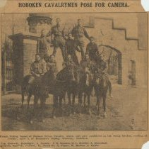 """Image of Newspaper clipping from album with photo """"Hoboken Cavalrymen Pose for Camera"""" from The Jersey Observer, March 28, 1913. - Newspaper"""