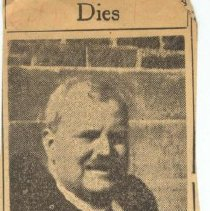 Image of Newspaper clipping from album obituary of John H. Grouls from an unidentified newspaper, no date, ca. 1935.