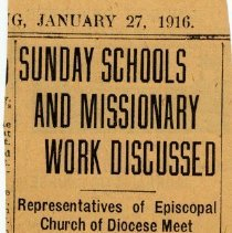 "Image of Newspaper clipping from album of article ""Sunday Schools and Missionary Work Discussed"" from the Hudson Observer, January 27, 1916. - Newspaper"