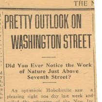 "Image of Newspaper clipping from album of article ""Pretty Outlook on Washington Street"" from the New Inquirer, (May) 23, 1914. - Newspaper"