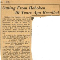 "Image of Newspaper clipping from album of article ""Outing from Hoboken 40 Years Ago Recalled"" from the Jersey Evening News, (September?) 25, 1932. - Newspaper"