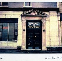 Image of Color image of exterior view of the entrance to the Hotel Victor, 44 Hudson Place, Hoboken, 1977. - Print, Photographic