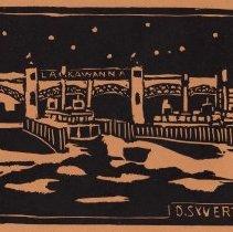 Image of Linoleum block print: Lackawanna Ferries. Hoboken, n.d., [issued June, 1932.] - Print