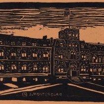 Image of Linoleum block print: Stevens Institute of Technology 'A' Building. Hoboken, n.d., [issued June, 1932.] - Print