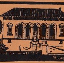 Image of Linoleum block print: Summer House, Columbus Park. Hoboken, n.d., [issued June 1932.] - Print