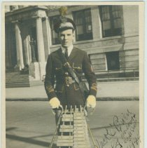 Image of Digital image of a hand-tinted black-and-white photo of Jack O'Brien in Our Lady of Grace Fife, Drum & Bugle Corp uniform, Hoboken, 1944. - print, photographic