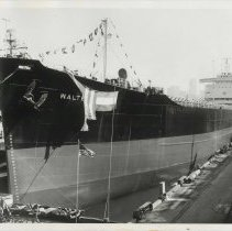 Image of B+W photo of a bow view of the S.S. Walter Rice at christening in Todd Shipyards, Hoboken, Feb. 23, year not known. - print, photographic